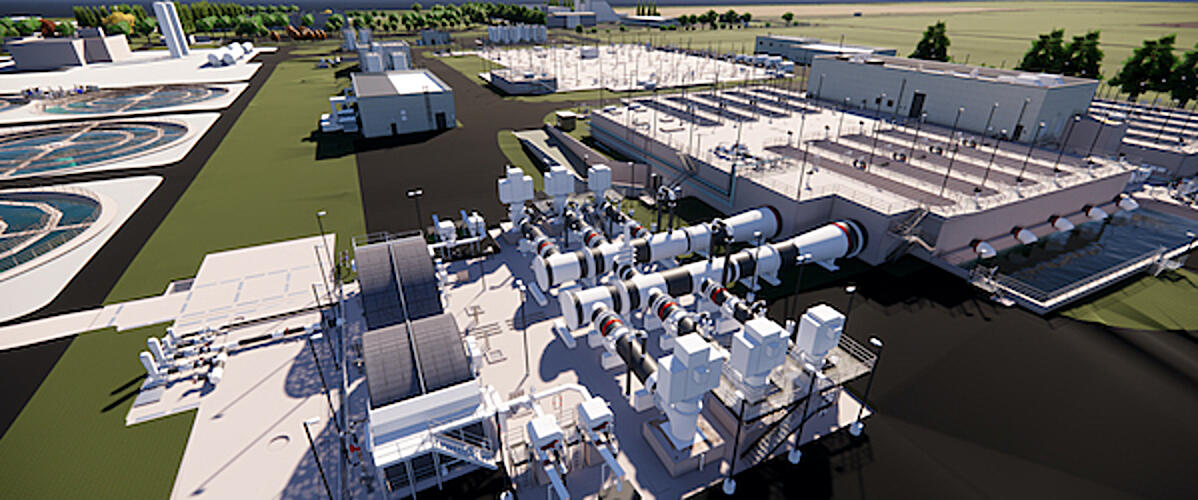 Rendering of the tertiary treatment facility currently under construction to produce Title 22 irrigation water